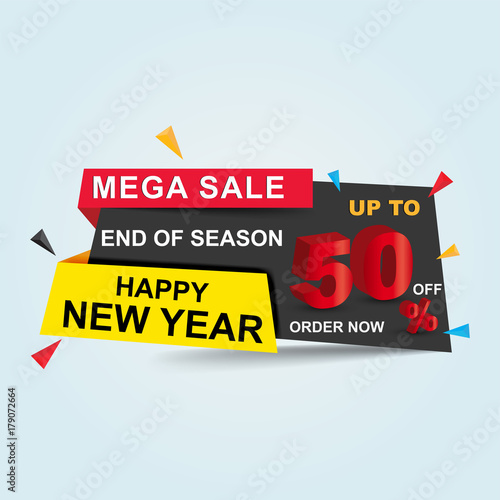 happy new year sale poster banner big sale clearance up to 50