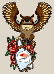 Portrait of an owl with a bottle and roses