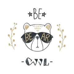 Vector card with cute fashion bear. Stylish teddy bear. Doodle kids animals print. Funny character. Cute illustration, trendy design. Be cool. T-shirt print. Textile graphic.