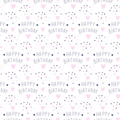 Happy birthday background. Seamless B-day pattern. Ideal for wrapping paper and decoration. Holidays design. Cute template.
