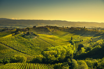 Panoramic view of countryside and chianti vineyards from San Gimignano. Tuscany, Italy