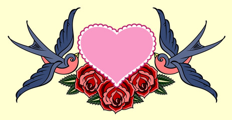 Swallows carrying a heart and roses. Old school tattoo style
