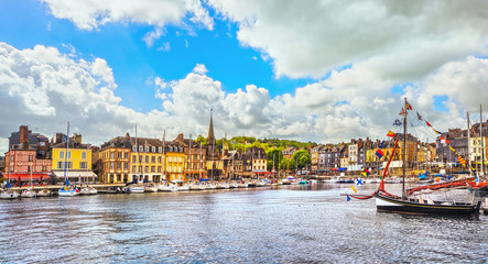 Honfleur skyline harbor, boats and water. Normandy, France Fototapete