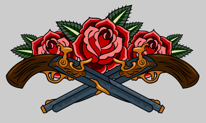 revolvers and red roses. Old school tattoo style