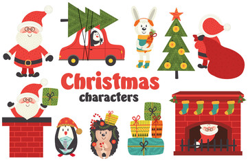 set of isolated Christmas characters part 1  - vector illustration, eps