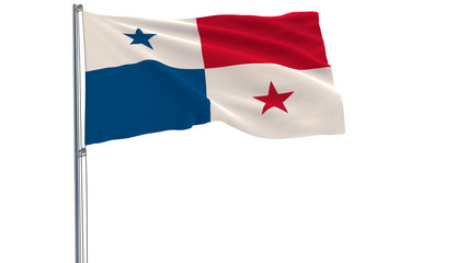 Isolate flag of Panama on a flagpole fluttering in the wind on a white background, 3d rendering.
