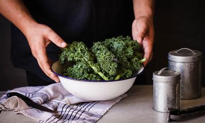 Kale cabbage green salad preparation process hands