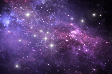 Night sky space background with nebula and stars