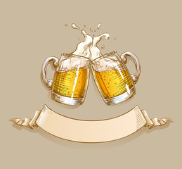 Two Mugs of Beer clink at a toast with a splash of beer foam. Design template with ribbon for text applicable for menu restaurant, pub, bar, poster, Oktoberfest banner, craft brewery, brewing. Vector