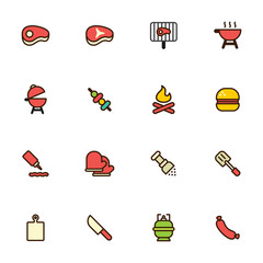 Barbecue And Grill Icons With Flat Outline Style