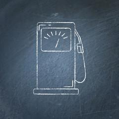 Petrol filling station icon chalkboard sketch