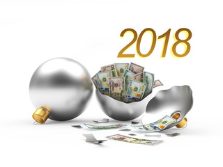 2018 New Year's financial concept. Whole and broken silver Christmas balls with Dollar bills inside. 3D illustration
