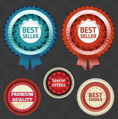 Best seller and choice labels with ribbon.