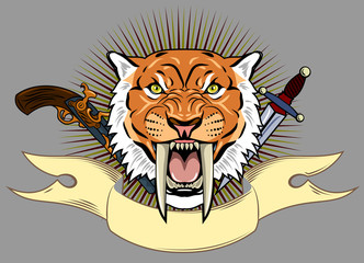 The saber-toothed tiger on the banner background