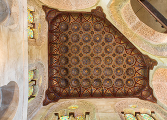 Wooden golden ornate ceiling, Mosque of Sultan Qalawun, Cairo, Egypt