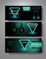 Black friday neon banner sale set vector illustration.