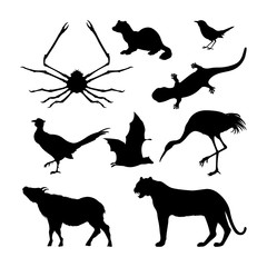 Set of silhouettes of Japanese animals. Black tiger, crane and pheasant on a white background. Vector illustration