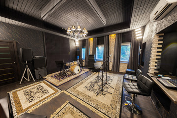professional recording studio with musical instruments