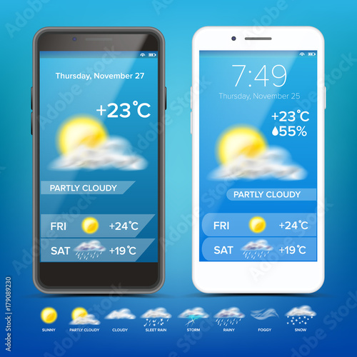 Weather Forecast App Vector  Realistic Smartphone  Weather