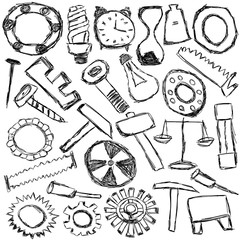 set of mechanical spare parts and tools - kids drawing