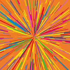 Tuinposter Psychedelic Radiating from the center of thin beams, lines. Vector illustration. Colorful Dynamic style. Abstract explosion, speed motion