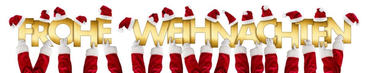 weihnachtsmann hände halten goldene Buchstaben Schriftzug mit Weihnachtsgruß Frohe Weihnachten hoch dekoriert mit Nikolausmützen rot hintergrund weiß isoliert