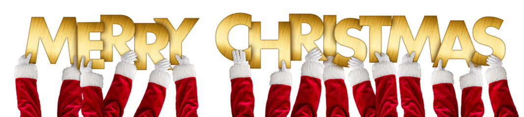 santa clause hands holding up merry christmas greeting golden shiny metal letters lettering  isolated wide panorama background