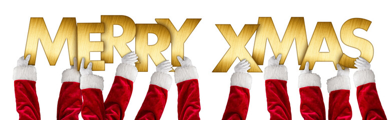 santa clause hands holding up merry xmas christmas greeting golden shiny metal letters lettering isolated background