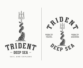 Black on white trident deep sea travel and discover