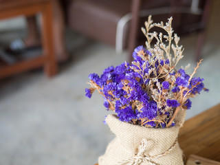 Purple flower decor the coffee shop with copy space vintage style