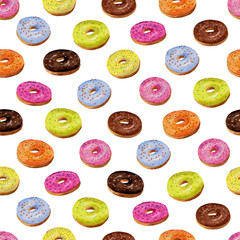Glazed donuts seamless pattern in watercolor on white backgroun