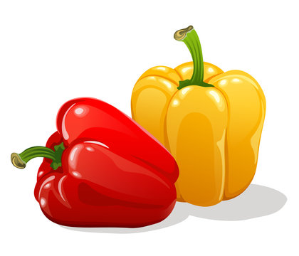 red and yellow sweet bell peppers