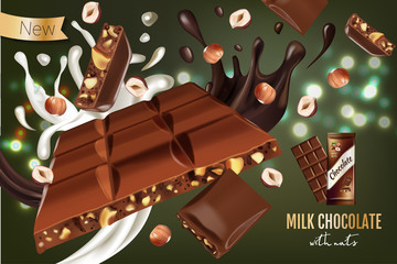 Vector realistic illustration of milk chocolate with hazelnut.