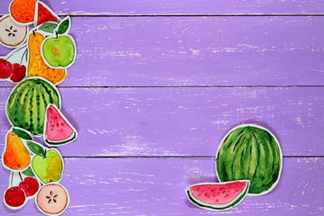 Hand drawn watercolor colorful painting of fruits on lilac wooden background. Watermelon, apple, melon, cherry, orange.