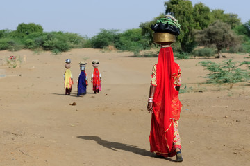 Indian ethnic women carries jar on her head and going for the water in well on the desert. Rajasthan, India. Thar desert near Jaisamler