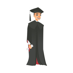 vector flat cartoon male college, university happy graduate character, boy in graduation gown, cap holding diploma smiling. Isolated illustration on a white background.