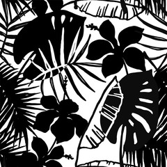 Seamless exotic pattern with tropical leaves and flowers.