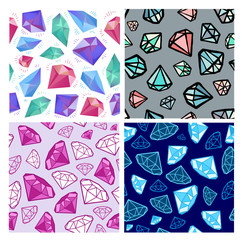 Set of vector seamless diamonds patterns. Jewelry, jems backgrounds