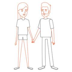 lovers couple avatars character vector illustration design