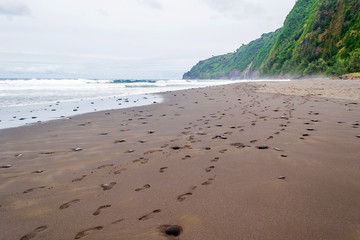 Human tracks on the sandy beach on the shore of the ocean in Hawaii