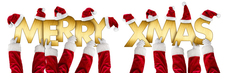 santa clause hands holding up merry xmas christmas greeting golden shiny metal letters lettering with red white hats isolated background
