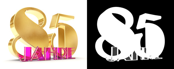 Number eighty five years (85 years) celebration design. Anniversary golden number template elements for your birthday party. Translated from the German - years. 3D illustration