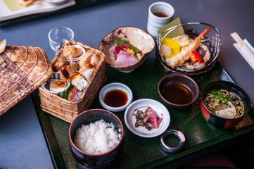 Japanese Bento lunch set with tempura and sashimi