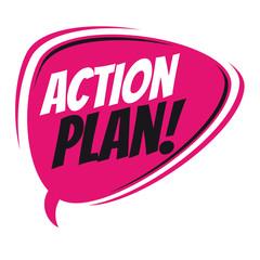 action plan retro cartoon balloon