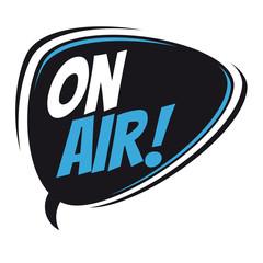 on air retro speech bubble