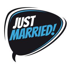 just married retro speech bubble