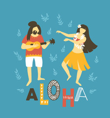 Vector hawaii  illustration. Summer background with dancing girls and men playing ukulele. Bright ethnic design.