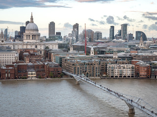 St. Paul's cathedral, the Millennium Bridge and The River Thames, London