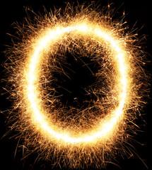 Sparkler firework light alphabet O isolated on black