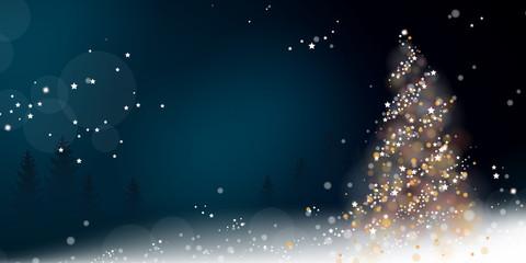 Weihnachten Lichterbaum - Blau/Weiß